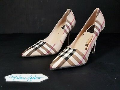 Womens CUTE! Pointy Toe Pumps By DI SHA NI Synthetic Upper Burberry-like Pattern