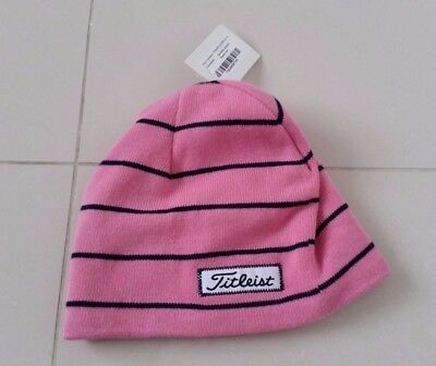 Titleist Striped Beanie Winter Hat - Pink w/ Navy Stripes - New with Tags