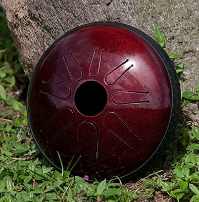 """Idiopan Lunabell 8"""" Tunable Steel Tongue Drum - Ruby Red"""