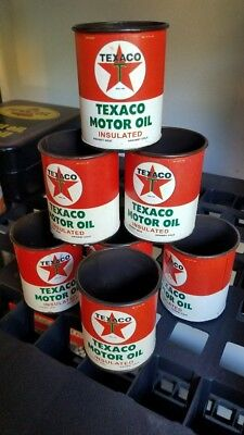 TEXACO MOTOR OIL cans LOT OF 7 Mini metal gas station pump globe garage man cave