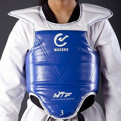 NEW WACOKU Reversible Chest Protector WTF Approved Taekwondo Chest Guard