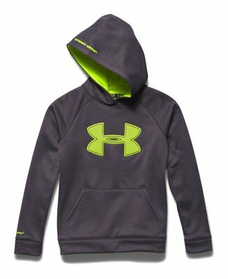 Under Armour Boys Fleece Storm Hoodie 1259690-090 - Carbon/High-Vis Yellow - S