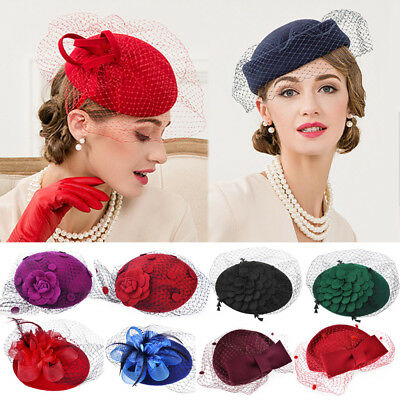 Womens Lady Elegant Fascinator Wool Felt Hat Party Wedding Bow Veil Hair Clip US