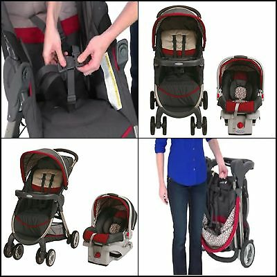 Stroller & Car Seat Combo Graco Baby Travel System FastAction Fold Click Connect