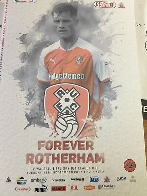 Rotherham United vs Walsall Programme 12/9/17