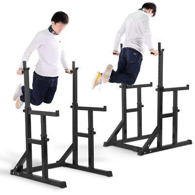 Squat Barbell Power Rack Adjustable Stand Press Dip Weight Lifting Spotter Black