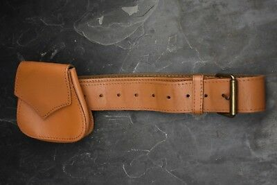 Vintage 1970s Tan Leather Belt with Detachable Purse