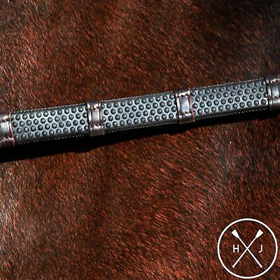 Henry James Saddlery English Bio Grip Hybrid Rubber Reins with Leather Stoppers