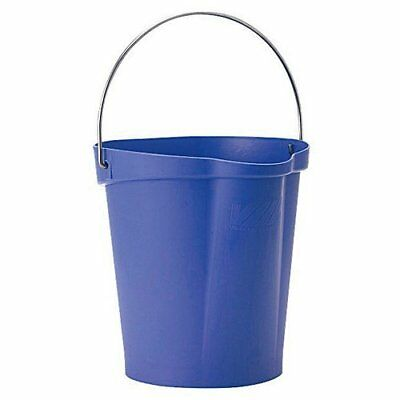 Vikan 56868 Plastic Round Heavy Duty Pail with Stainless Steel Handle, 3 gal,