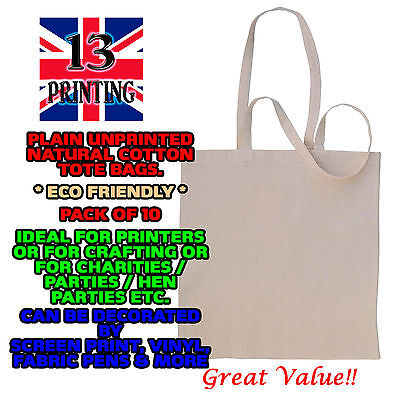 10 X Cotton Tote shopping Bags Plain Eco Friendly 38cm x 42cm Good quality craft