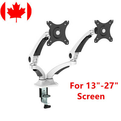 "PrimeCables® Dual LCD Adjustable Monitor Mount Desk Top 13""-27"" Screen +Rotation"