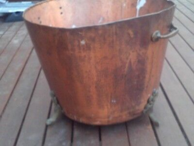 Old Large Copper Pot With Brass Feet And Handles Plant Pot