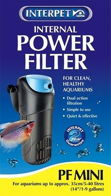 Interpet 2200 Internal Aquarium Power Filter PF Mini For Fish Tanks - Black/Blue