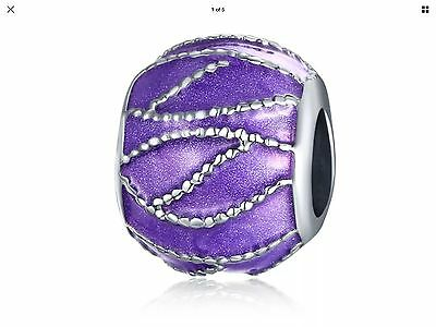 Lovely Charm Purple And Silver Nice For Your Pandora Or Chimillia Bracelet