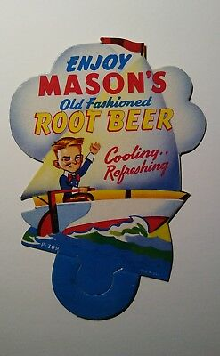Original 1950's MASONS ROOT BEER Bottle Topper, MINT CONDITION! BID NOW!!