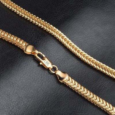 "18k Yellow Solid Gold Filled Chain Necklace 20"" 6mm Thick Men's Women's Jewelry"