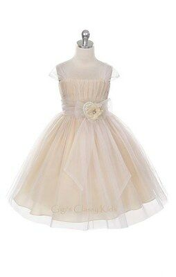 New Flower Girls Fancy Champagne Dress Easter Party Christmas Pageant MK293