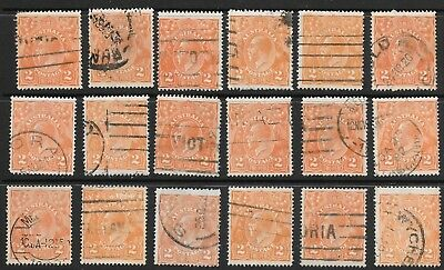 KGV     2d  ORANGE  SINGLE WMK   36 STAMPS   VARIETY INTEREST