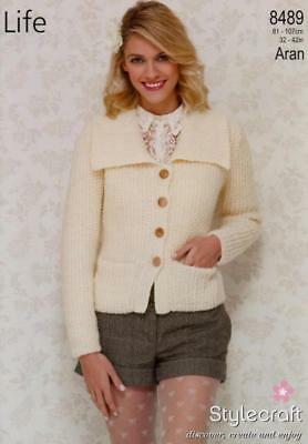 670e076c9500da STYLECRAFT KNITTING PATTERN 8489 Collared Cardigan Pockets ARAN Ladies 32-42