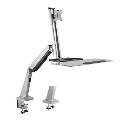 Adjustable Computer Monitor Desk Mount Stand Single LCD Flat Screen w/Desktop