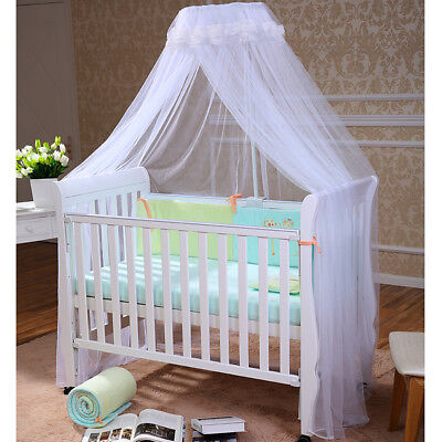 Kids Baby Bed Canopy Bedcover Lace Mosquito Net Curtain Bedding Dome Tent White