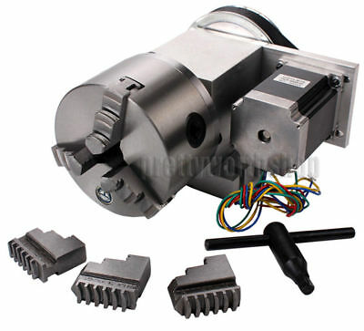 Hollow Shaft CNC 4th Axis Rotary Table Router Rotational Axis Φ100mm 3 Jaw Chuck