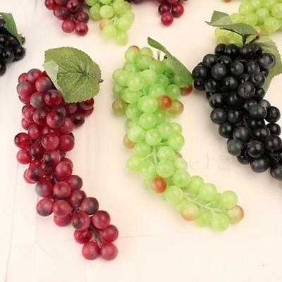 Bunch Lifelike Artificial Grapes Plastic Fake Fruit Home Decoration New UK