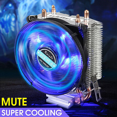 LED Cooler Fan CPU Heatsink 2 Heat Pipe For Intel LGA775/1366/2011 AMD AM2+ AM3