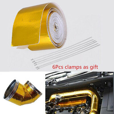 5M Self Adhesive Reflect Gold Heat Wrap Barrier Car Fiberglass Heat Shield Tape
