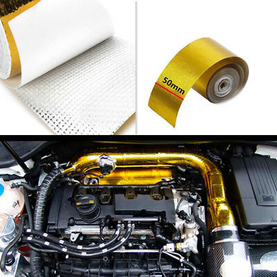 Car Pipe Fiberglass Heat Shield Self-Adhesive Wrap Gold Reflective Foil Tape 5M