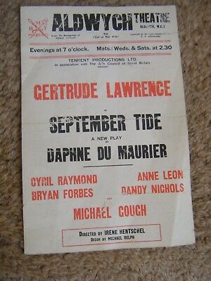 Aldwych Theatre  Gertrude Lawrence + Signature September Tide/ Daphne Du Maurie
