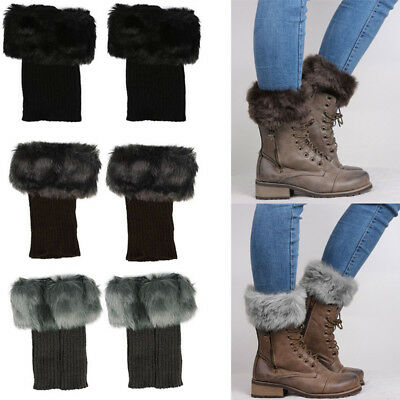 Thick Winter Socks Faux Fur Leg Warmers Fluffy Shaggy Boot Shoes Covers Cuffs