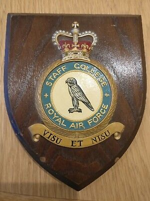 ROYAL AIR FORCE Staff College Plaque Shield - Used - not perfect