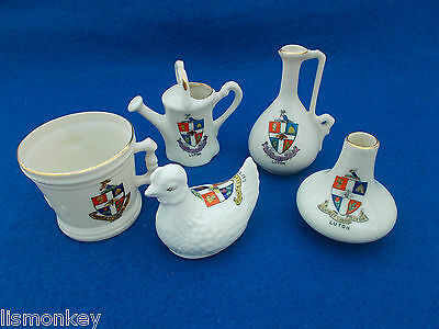 Crested China Crested Ware Luton Crest x 5 Chicken Cup watering Can Jug Urn