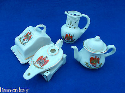 Crested China Crested Ware Bedford Crest x4 Bedfordshire Shoe Dish Jug Lamp
