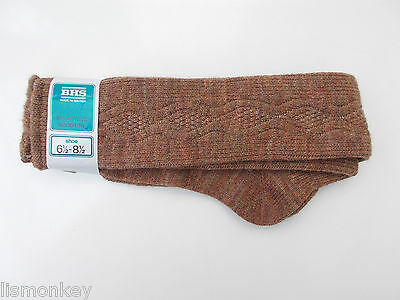 Vintage Mens Nylon Socks 1970s BHS Socks Brown Patterned Unusued New in Packet