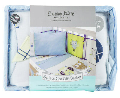 Bubba Blue Premium Collection Baby Owl 6-Piece Gift Set - Blue