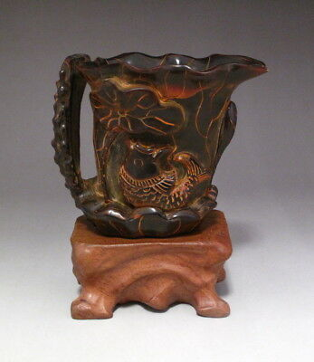 Fine Chinese Collect Hand Carved Ox horn cup