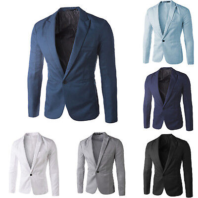 Men's Suit Coat Stylish Blazer 1-Button Business Casual Soft Slim Jacket Summer