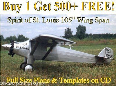 """Spirit of St Louis 105"""" WS Giant Scale RC Airplane Plans & Templates on CD"""