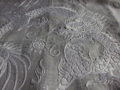 Antique Vintage Chinese Dragon hand embroidery table cover