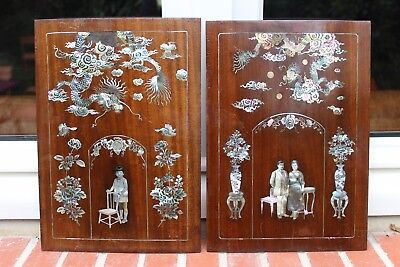 Rare Pair Plaque Frame Mother Of Pearl Figures Late 19Th