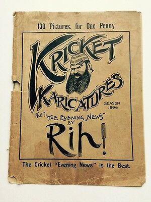1896 CRICKET caricatures by RIP W.G Grace Cover vintage Magazine