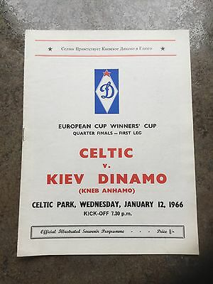 Celtic v Kiev Dinamo European Cup Winners' Cup Quarter Final January 12th 1966