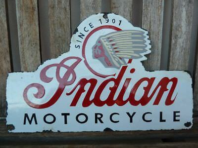 "old Indian , 16"" porcelain sign heavy convex collectible rar chief motorcycle"