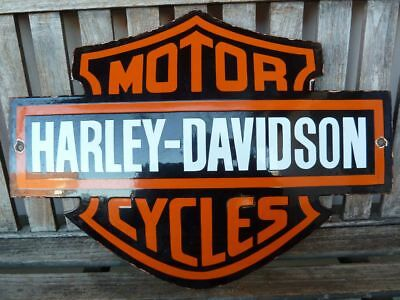 "old HARLEY DAVIDSON porcelain sign 22"" heavy convex collectible rar enamel comp"
