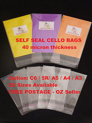 Self Seal Cello Cellophane OPP Resealable Plastic Bags C6 5R A5 A4 A3
