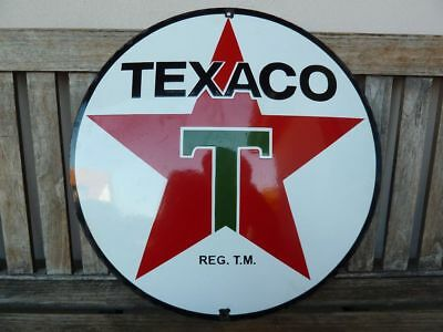 """Texaco old porcelain sign 20"""" heavy convex gasoline oil lubester gas station .."""