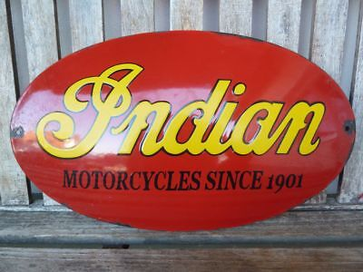"old Indian , 20"" ! porcelain sign heavy convex collectible rar chief motorcycle"