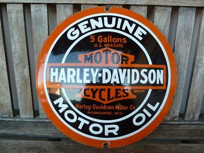 "old HARLEY DAVIDSON , advertising porcelain sign 16""  convex oil collectible rar"